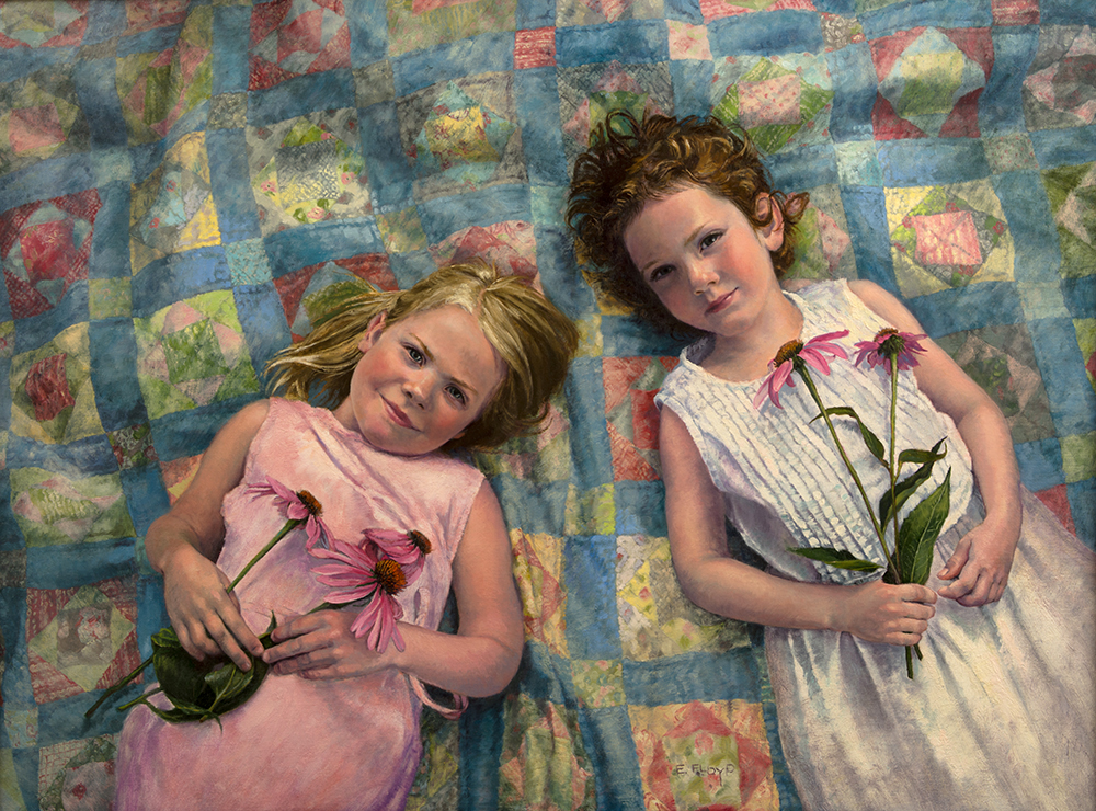 Friendship, 30 x 40 inches. A double portrait of my daughter and her best friend