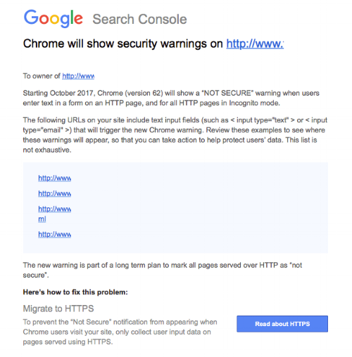 Google Search Console warning email