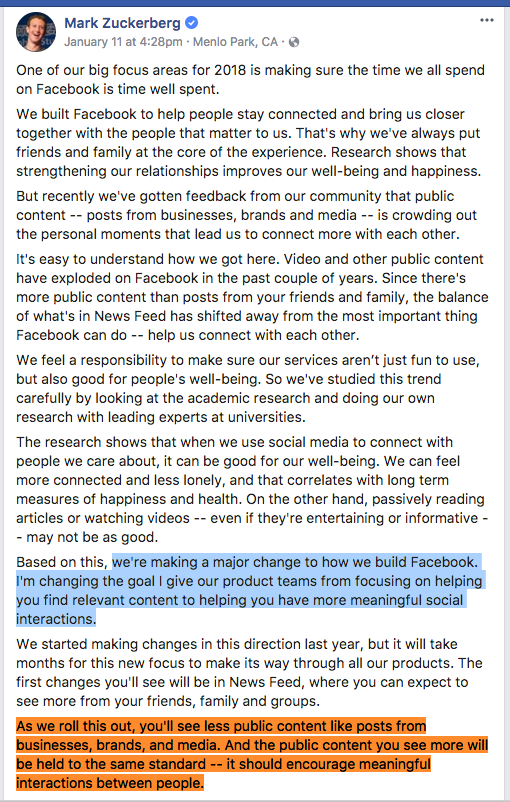 Mark Zuckerberg posted on his Facebook page on 11 January
