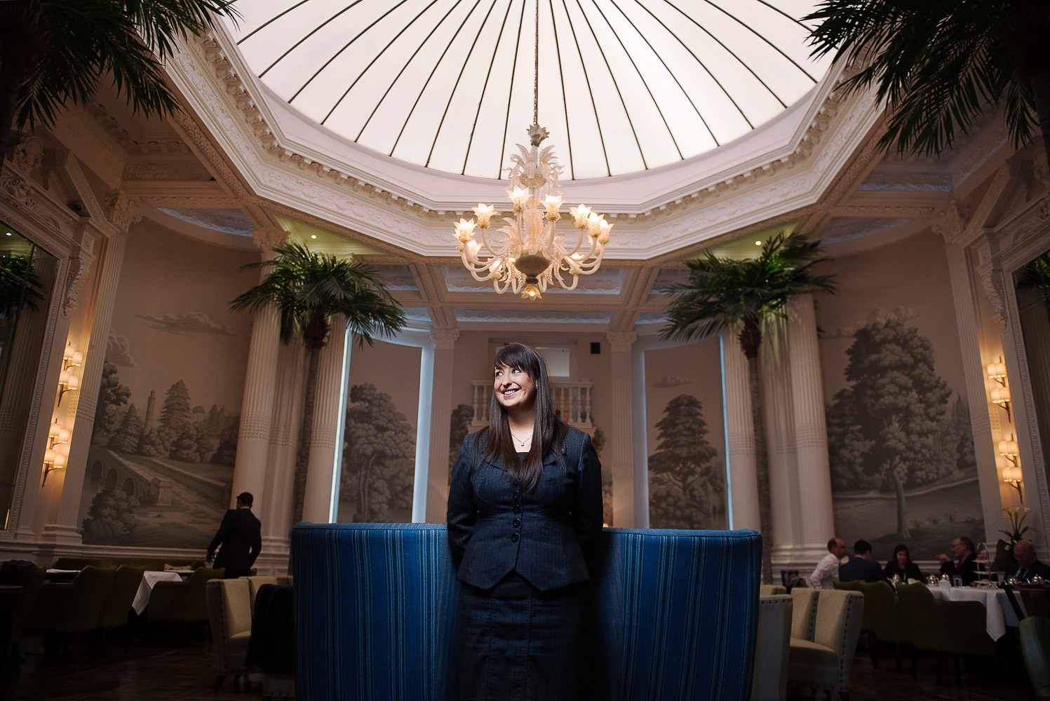 Elizabeth Bell in the stunning Palm Court