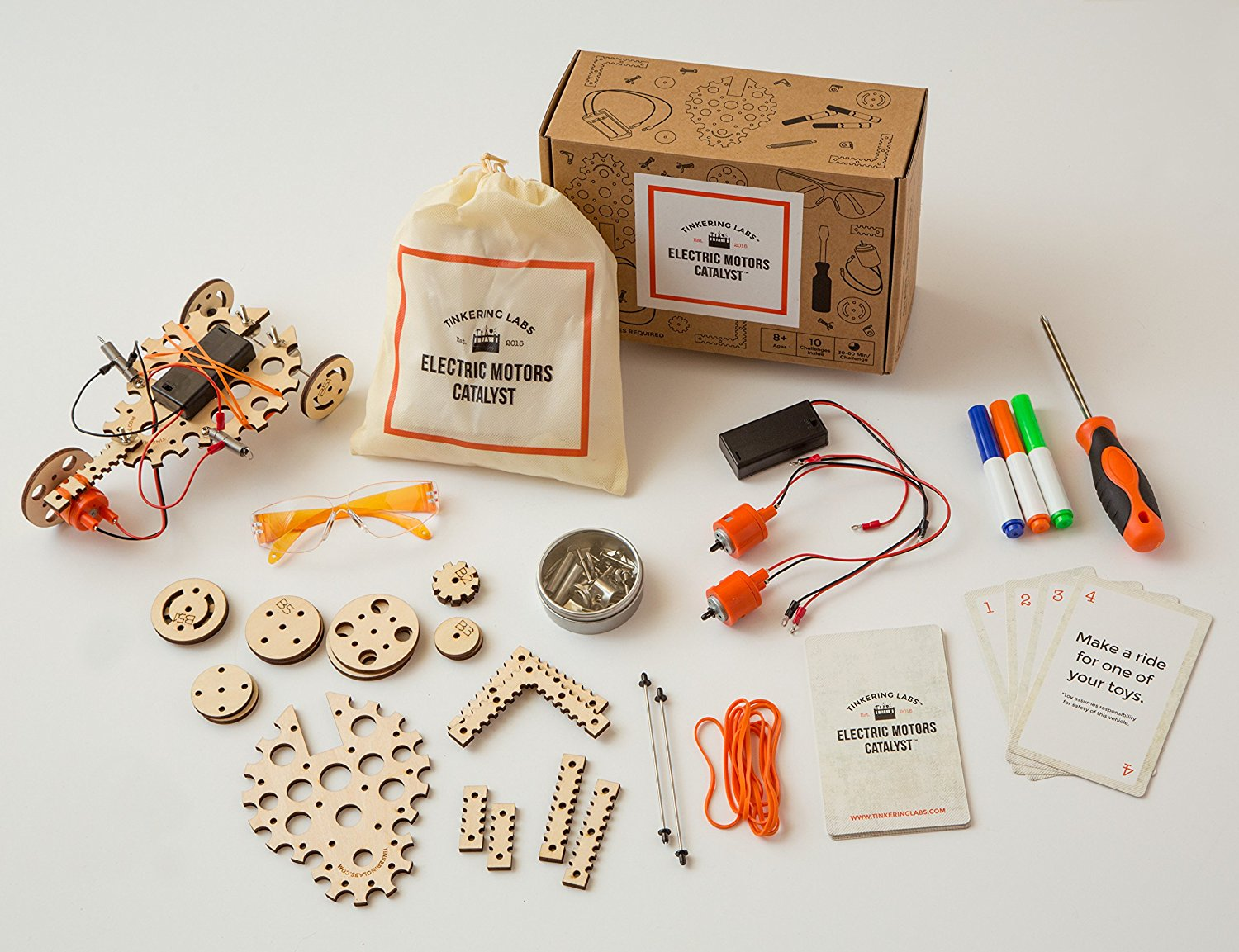 The Electric Motors Catalyst kit lets your kid rise to the challenge by building their own designs. Photo courtesy of Tinkering Labs.