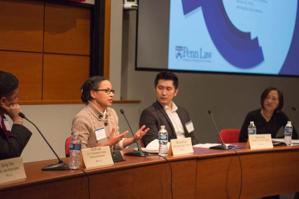 "Shauna C. Bryce, Esq. talking about career options outside BigLaw as a panelist at University of Pennsylvania School of Law's ""Carpe JDiem: Leveraging Legal Skills in Alternative Careers,"" moderated by Vivia Chen of ALM's The Careerist. Photo courtesy of PennLaw APALSA."