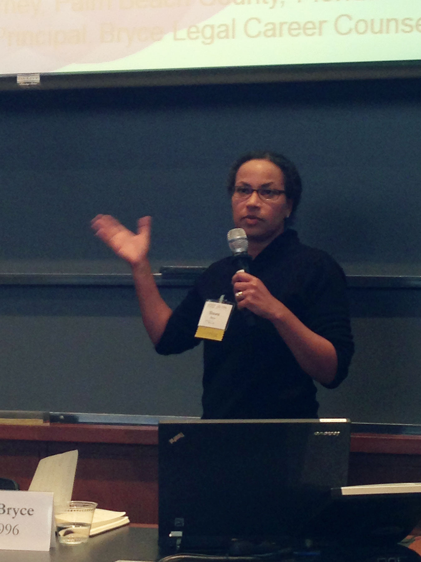 Shauna C. Bryce at speaking about career re-evalutaion and mid-career pivots at a Harvard Law School alumni event.