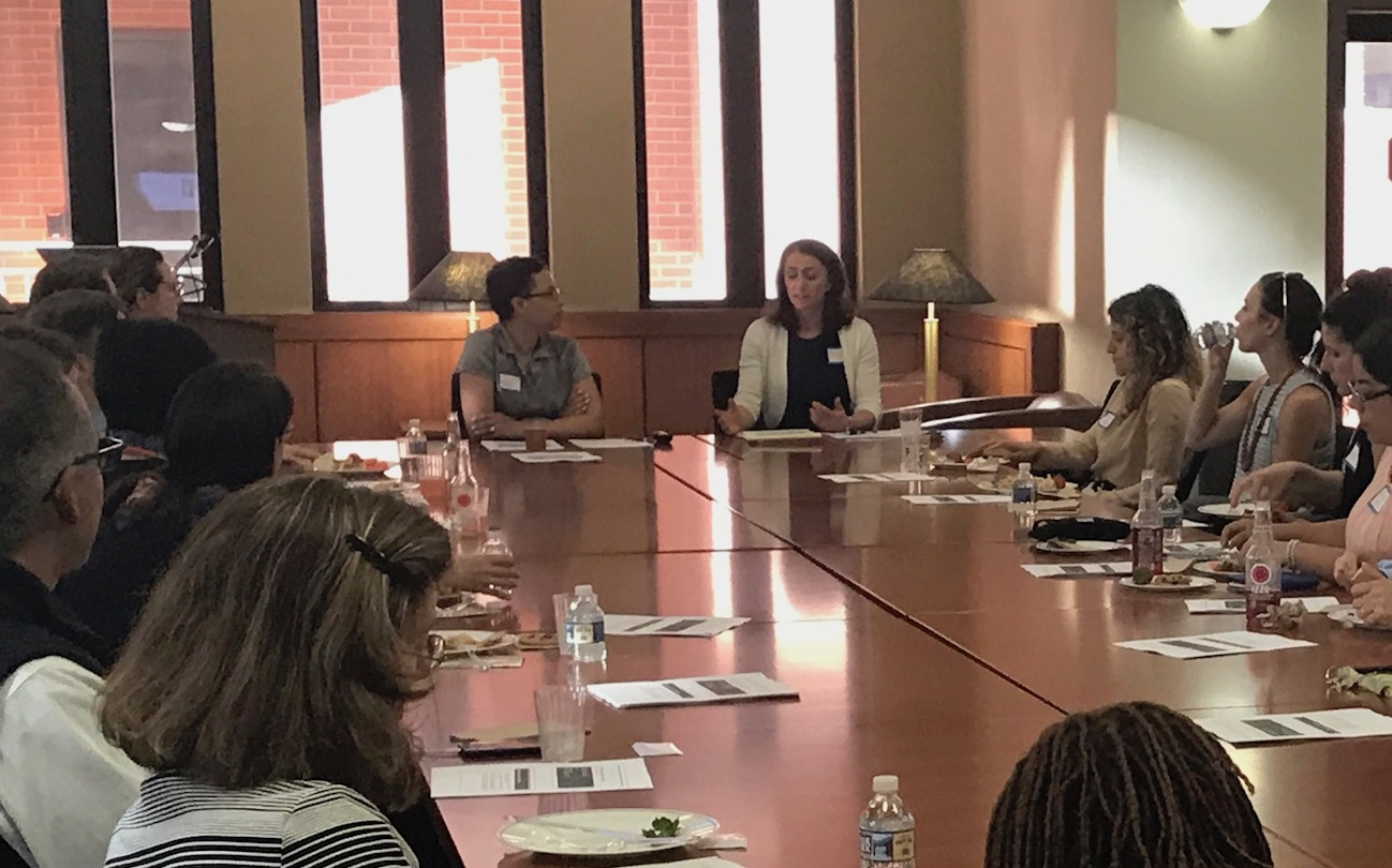 """Shauna C. Bryce and co-presenter Leesa Kleeper lead """"Success and Wellbeing for Lawyers: How can you be more successful and less stressed?"""" for Harvard Law School Association of Washington DC at George Washington Law School's law library."""