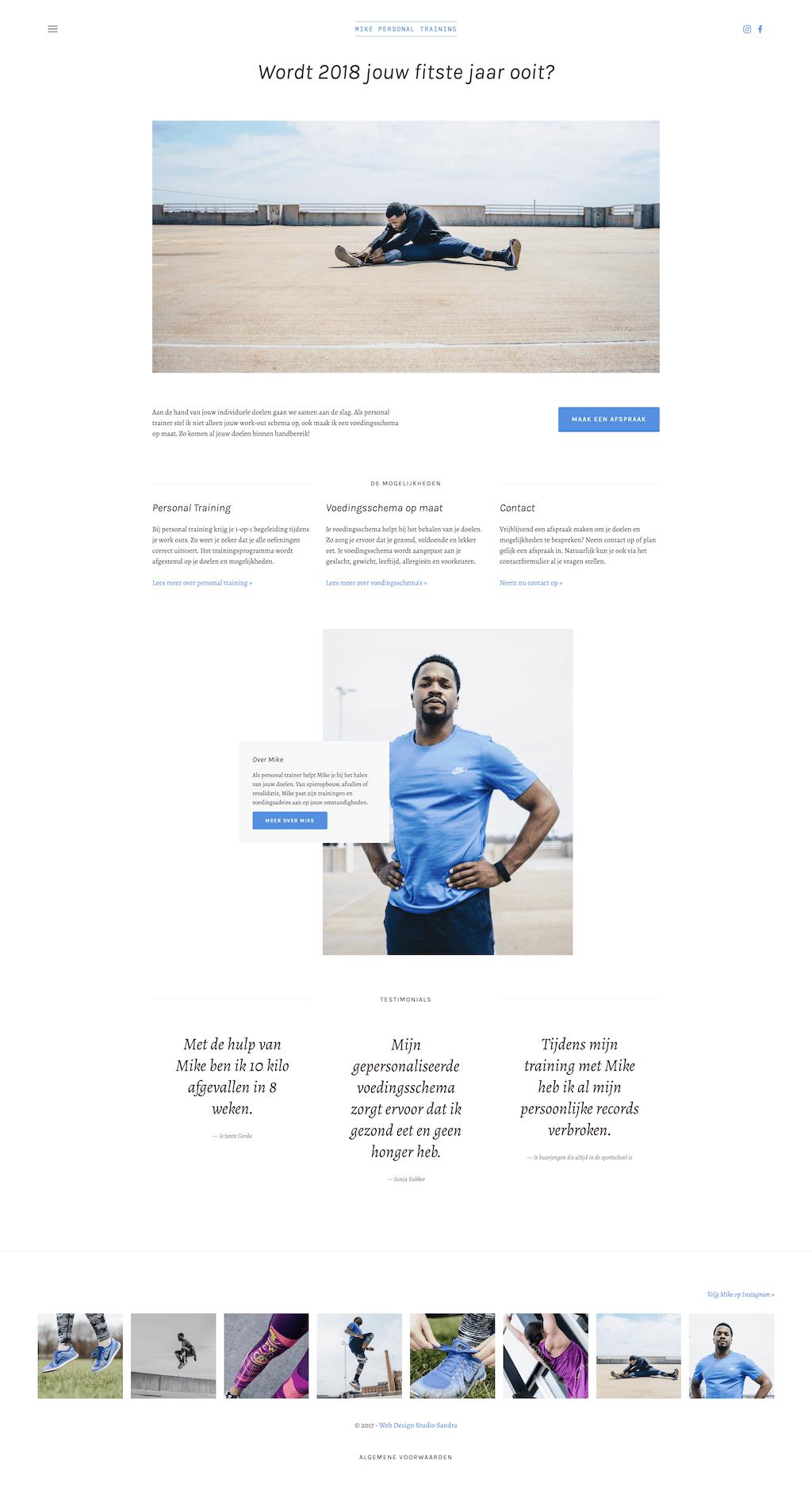 Webdesign voor een personal trainer met hero image, instagram integratie en testimonials.