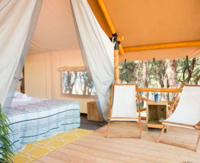 PRIVATE ROOM (1 or 2 beds)   Ensuite bathroom facilities, with shower Private terrace with deck chairs Air-conditioning Fridge Plugs and USB points Linens and Towels