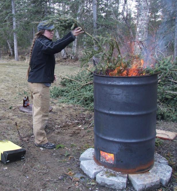 Correct use of a burn barrel.