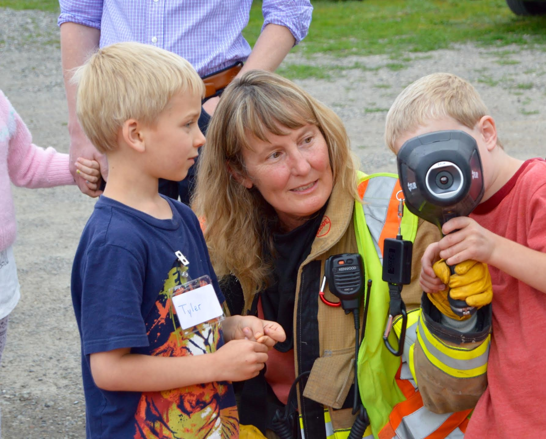 Volunteer Chris Wood demonstrates the use of a FLIR thermal imaging camera, which was donated by the local company this year.