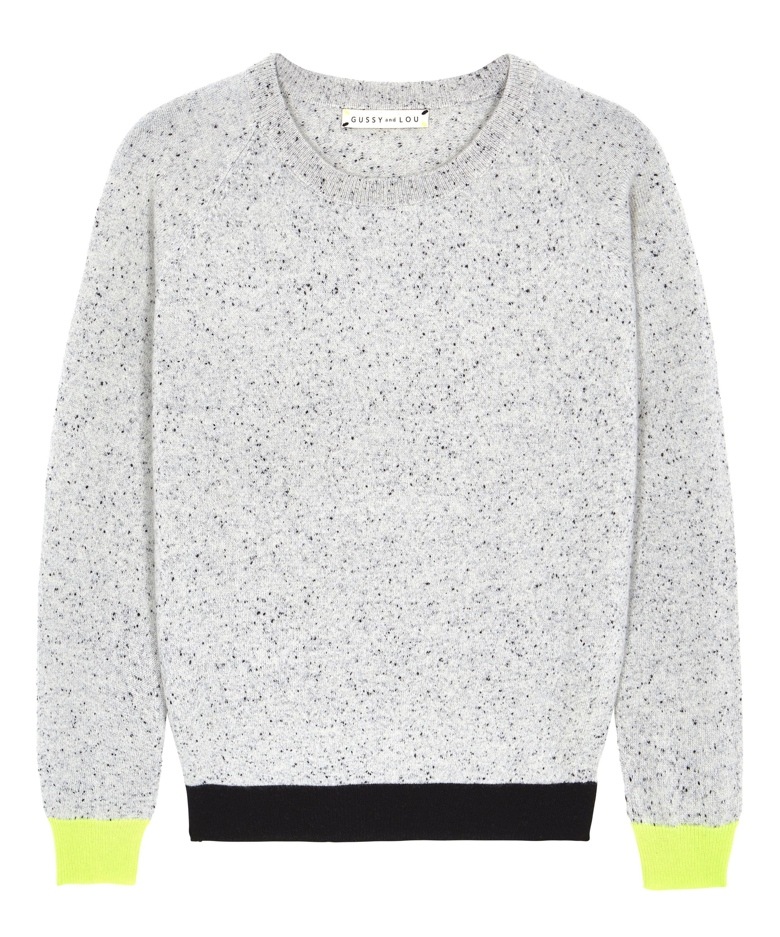 Ladies Black Fleck with Neon Yellow Cashmere Jumper — Gussy and Lou