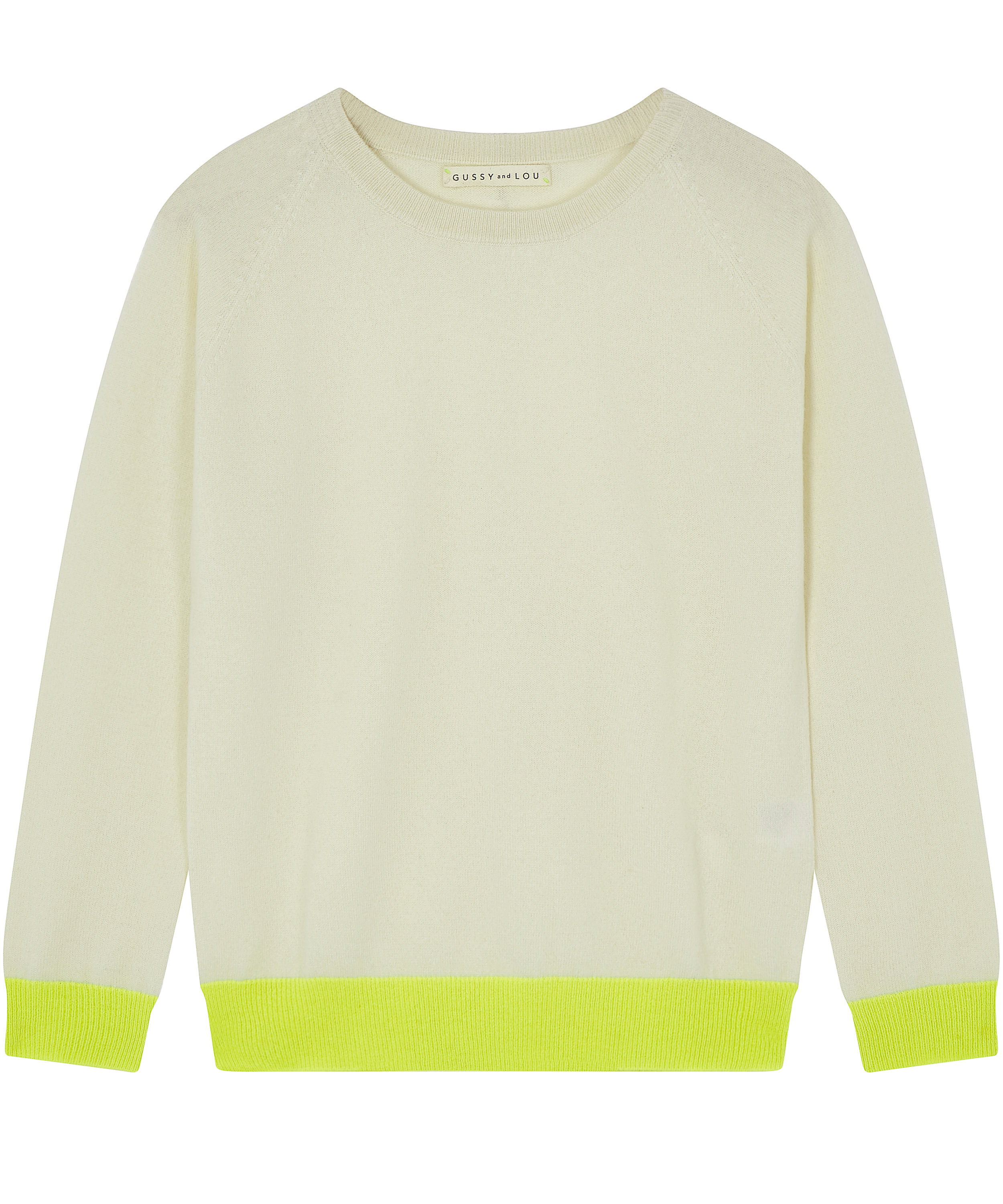 Ladies Cream and Neon Yellow Cashmere Jumper — Gussy and Lou