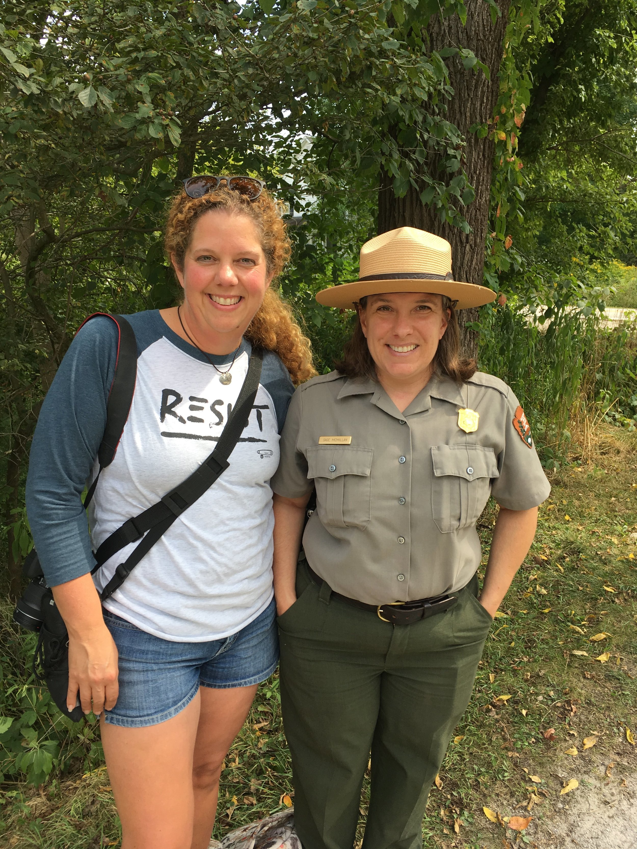 Park Ranger Sage and I having a chat on the path