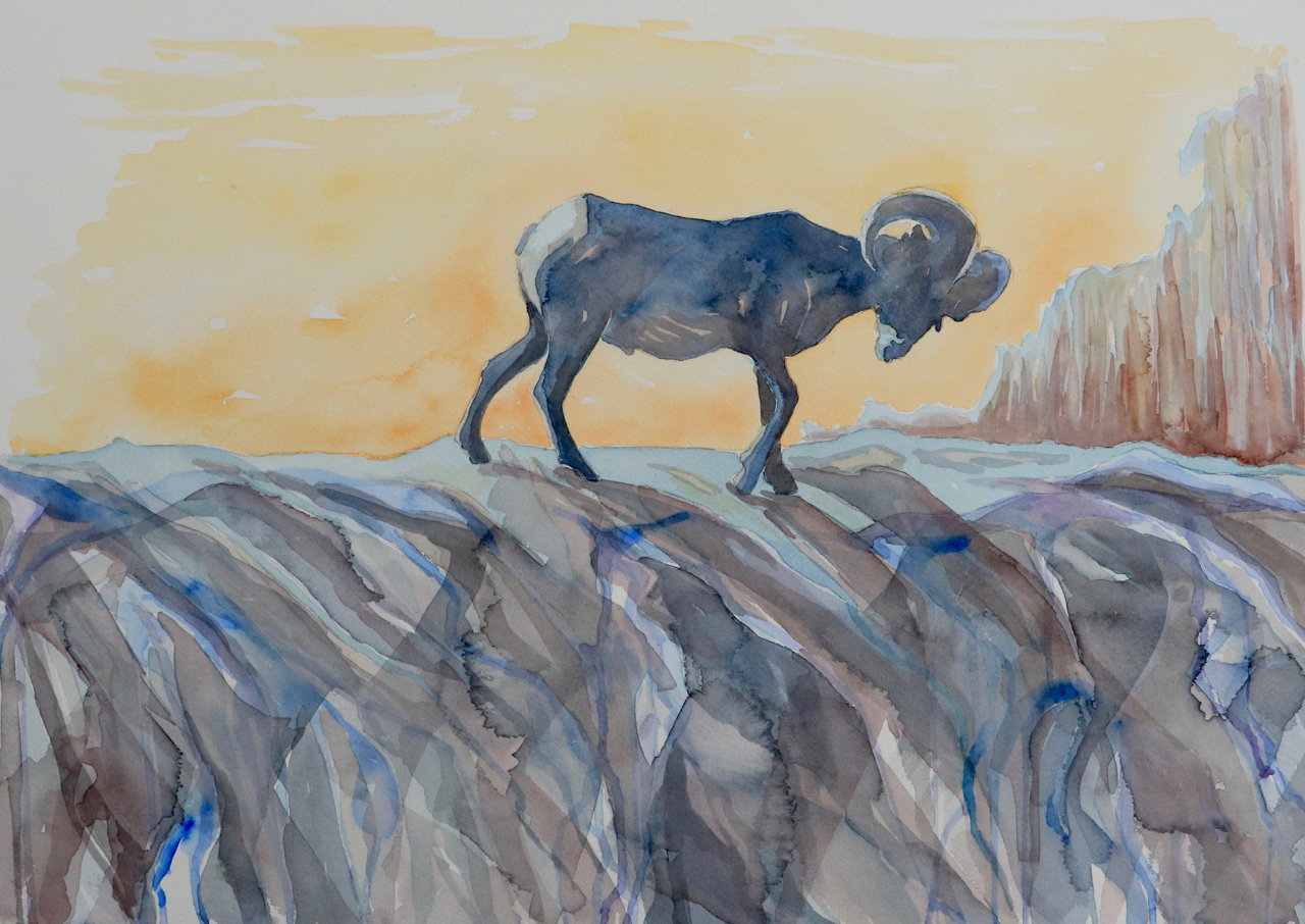 Sunset Silhouette, Badlands National Park - watercolor