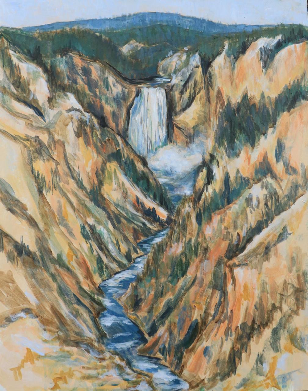 Lower Falls in the Morning, Yellowstone - acrylic on board