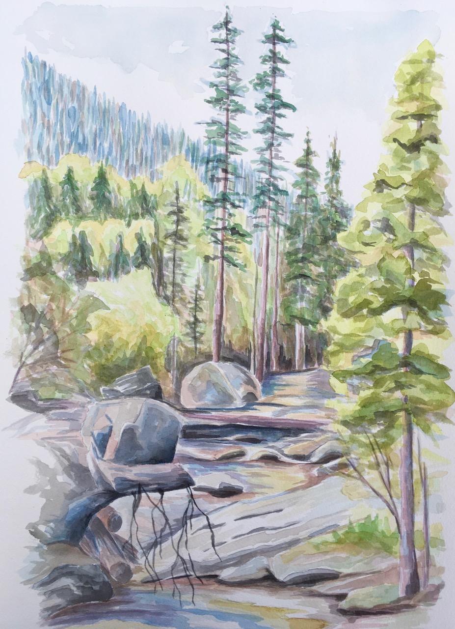 Upper Copeland Falls, Rocky Mountain National Park - watercolor