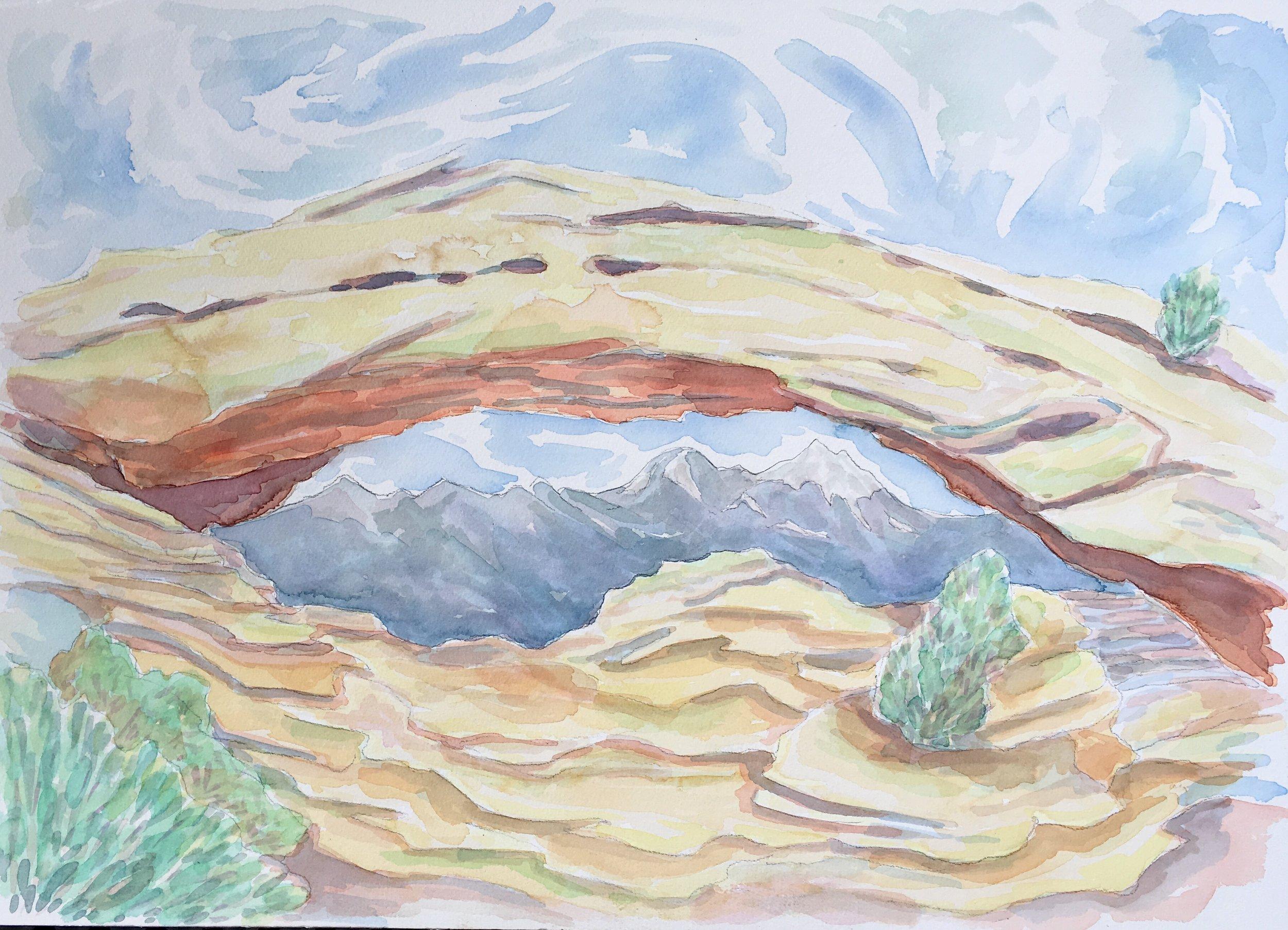 Mesa Arch, Canyonlands National Park - watercolor