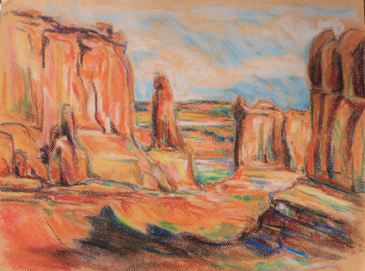 Park Avenue View, Arches National Park - conte pastel