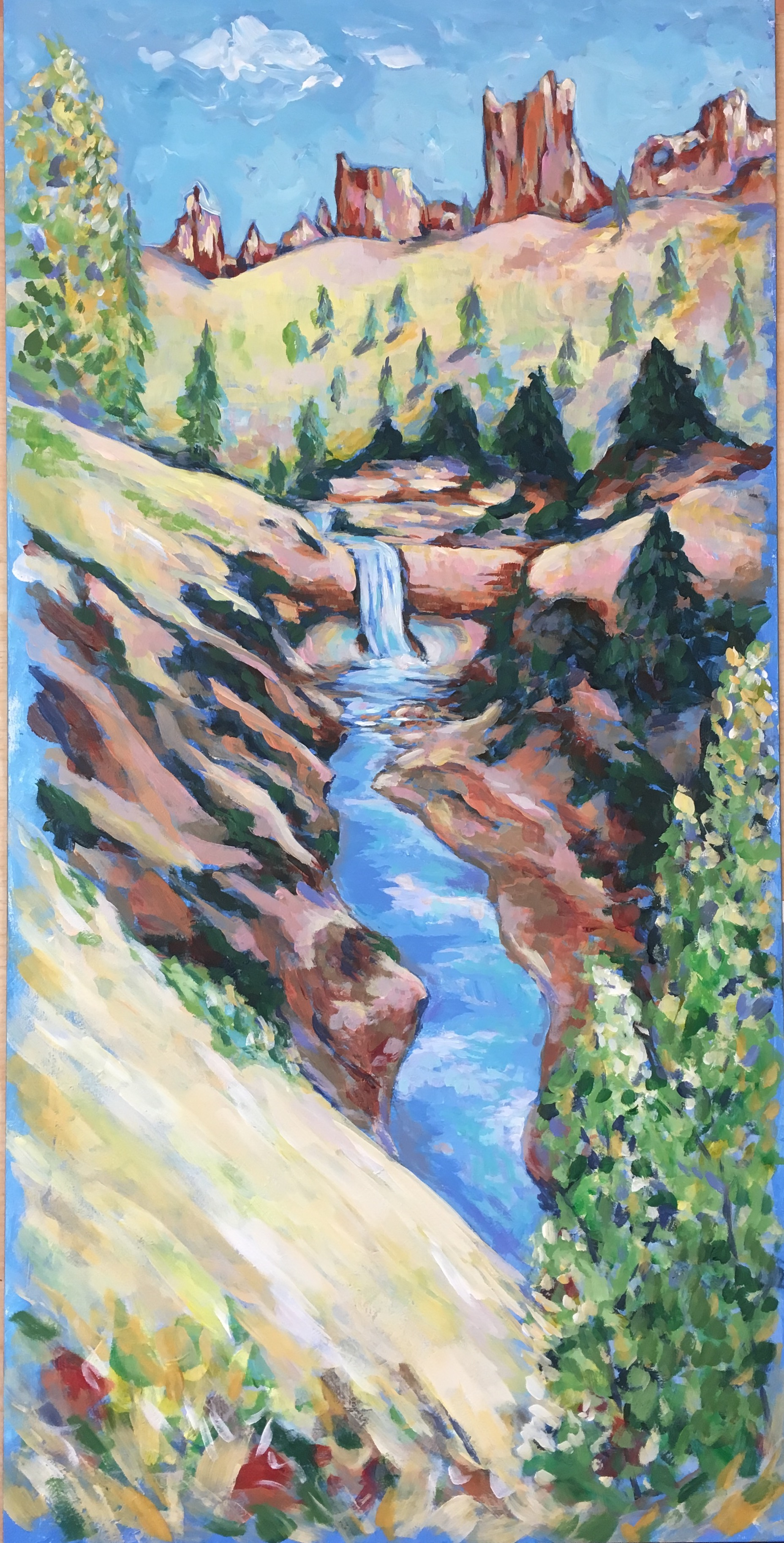 Falls Near Mossy Cave, Bryce Canyon National Park - acrylic on board