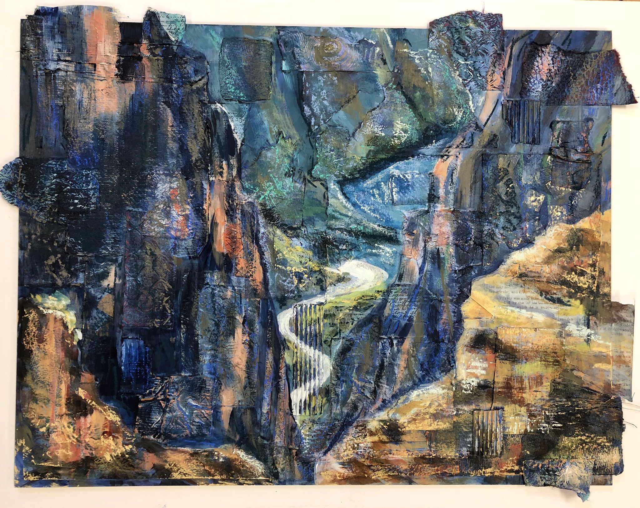 Water Carving Stone, Black Canyon of the Gunnison - mixed media
