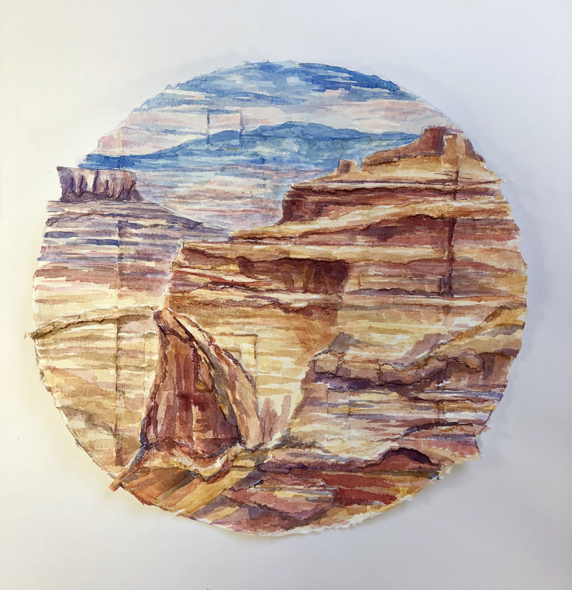 Landscape in the Round, Canyonlands National Park - watercolor and collage