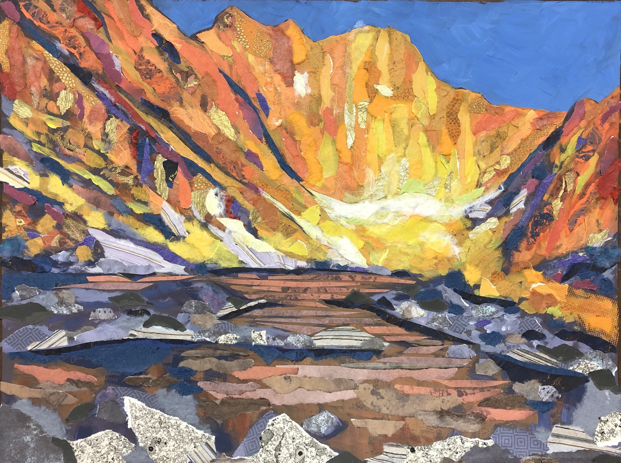 Impressions of Chasm Lake, Rocky Mountain National Park - mixed media