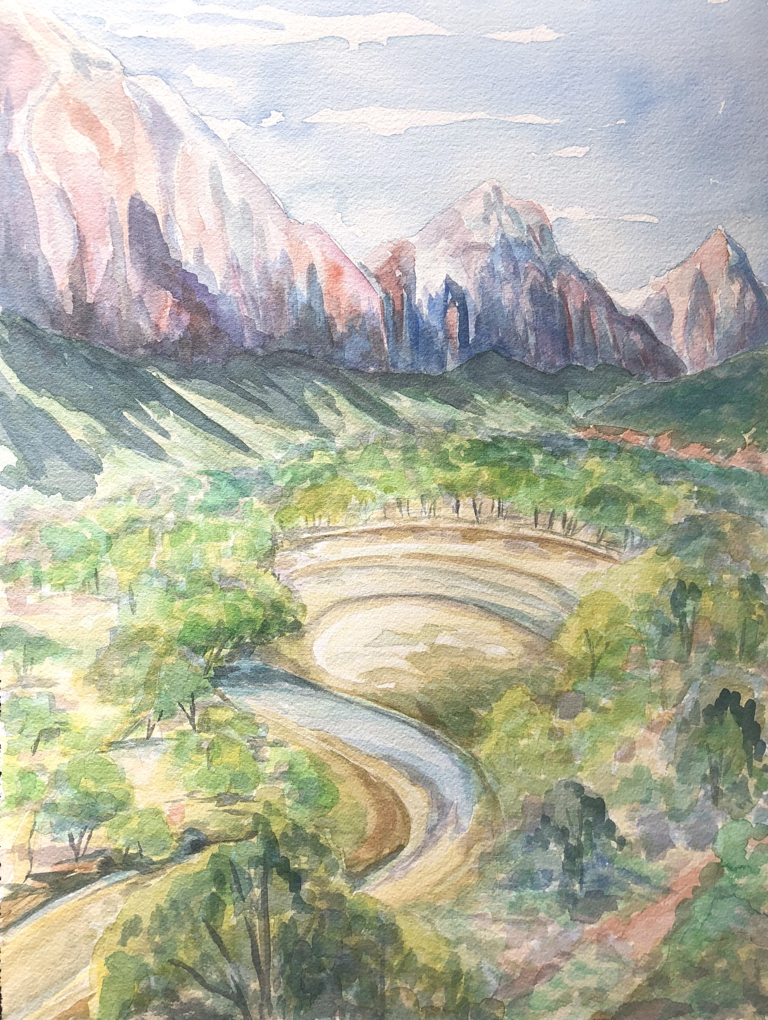 View from Kayenta Trail, Zion National Park - watercolor