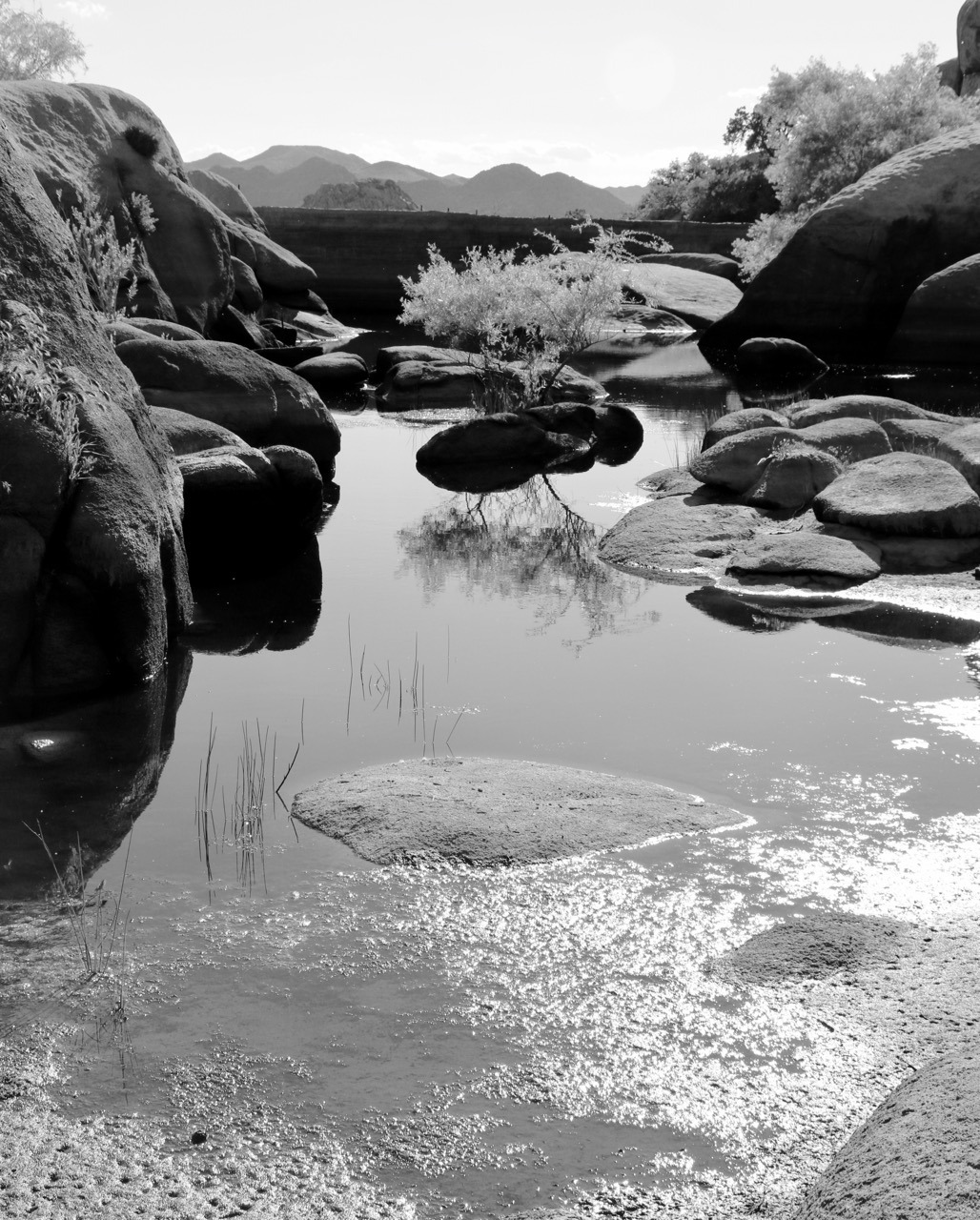 Reflections, Water in the Desert - Barker dam, Joshua Tree National Park