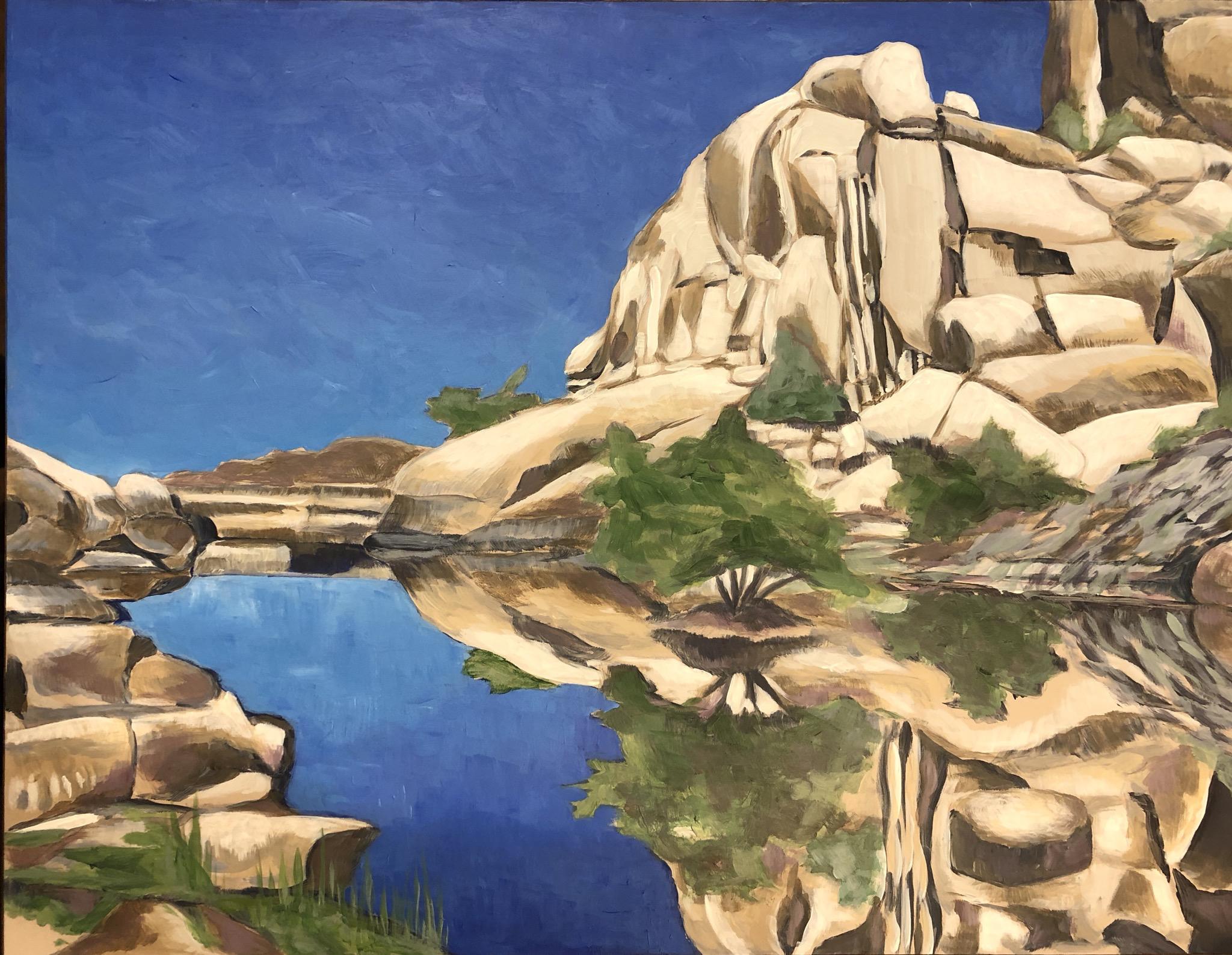 Barker Dam, Joshua Tree National Park - acrylic on board