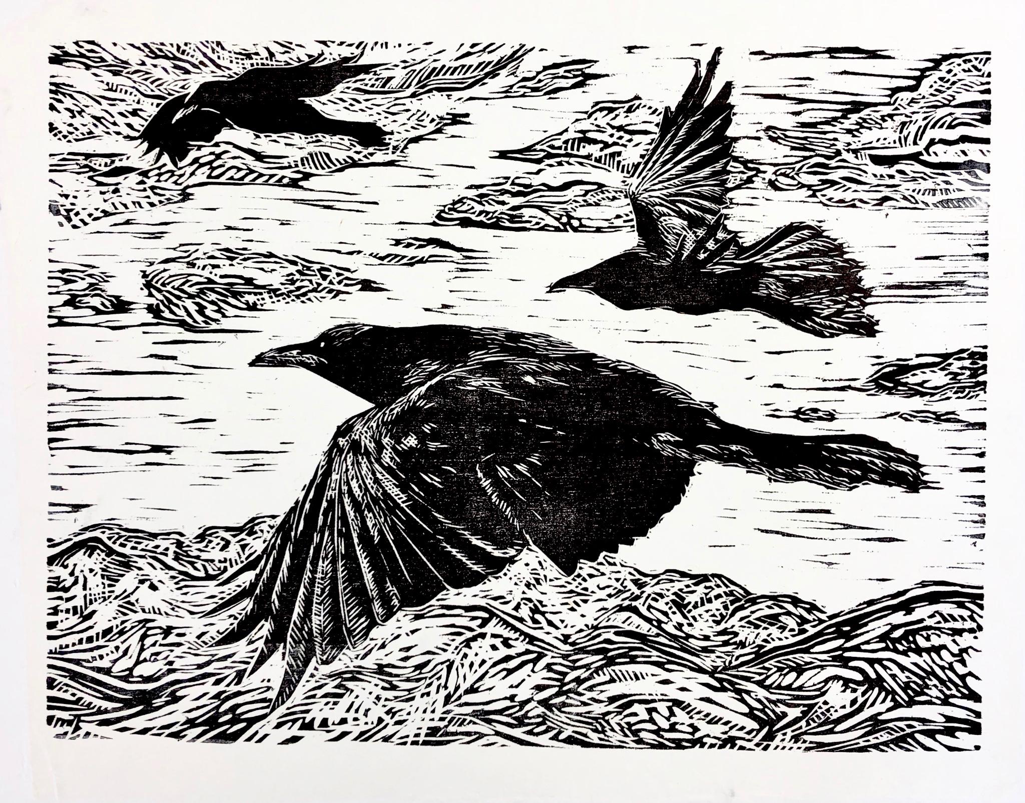 Flight of the Raven - Grand Staircase Escalante - woodcut print