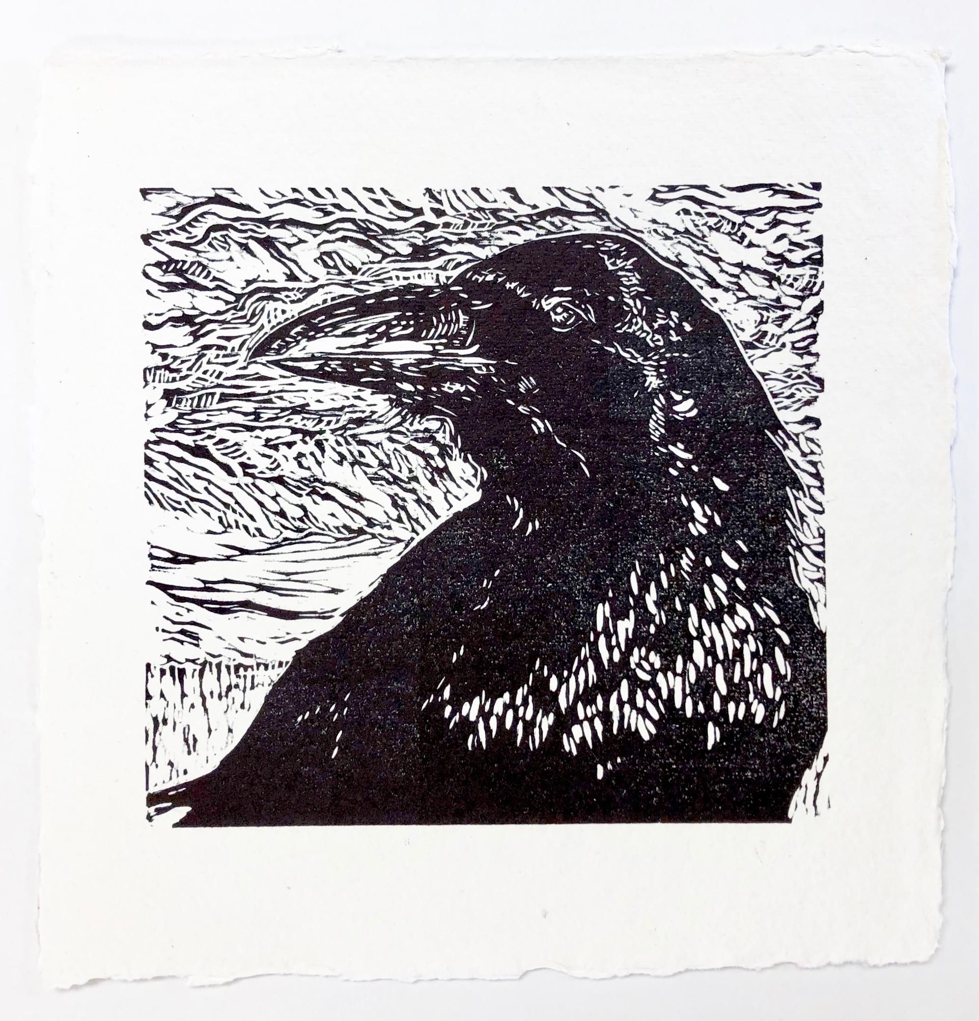 Portrait of Raven - Zion National Park - woodcut print