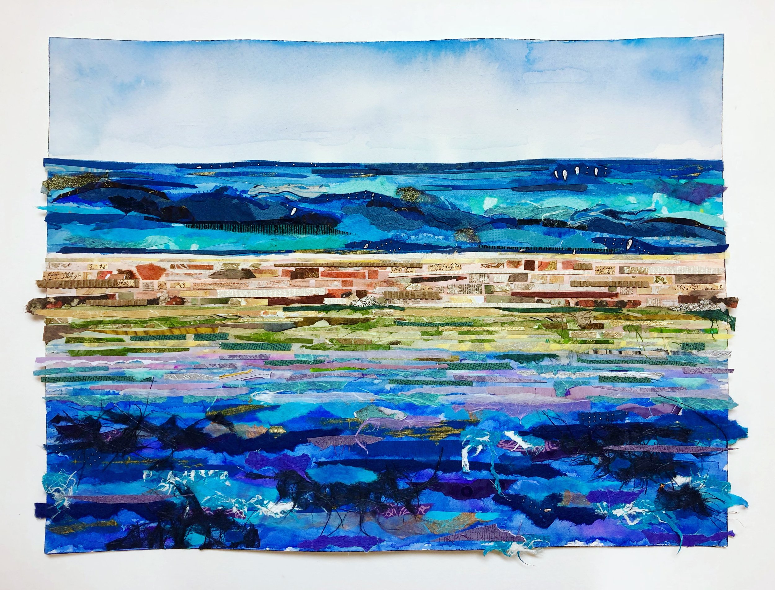 View out to Sea, Dry Tortuga National Park - watercolor and paper collage