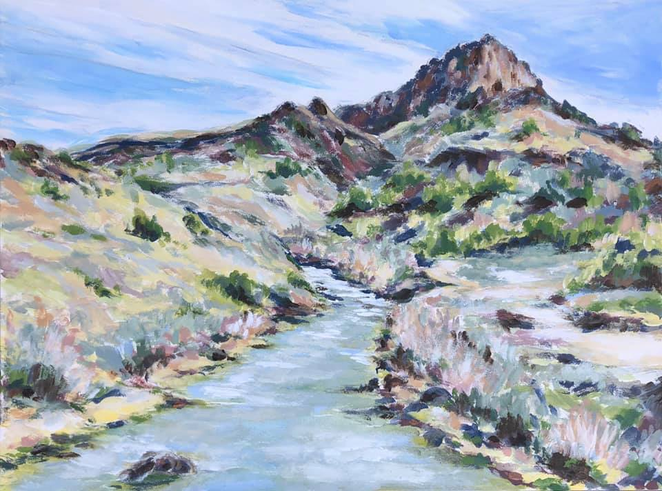 First Signs of Spring, Rio Grande Norte National Monument - acrylic on wood