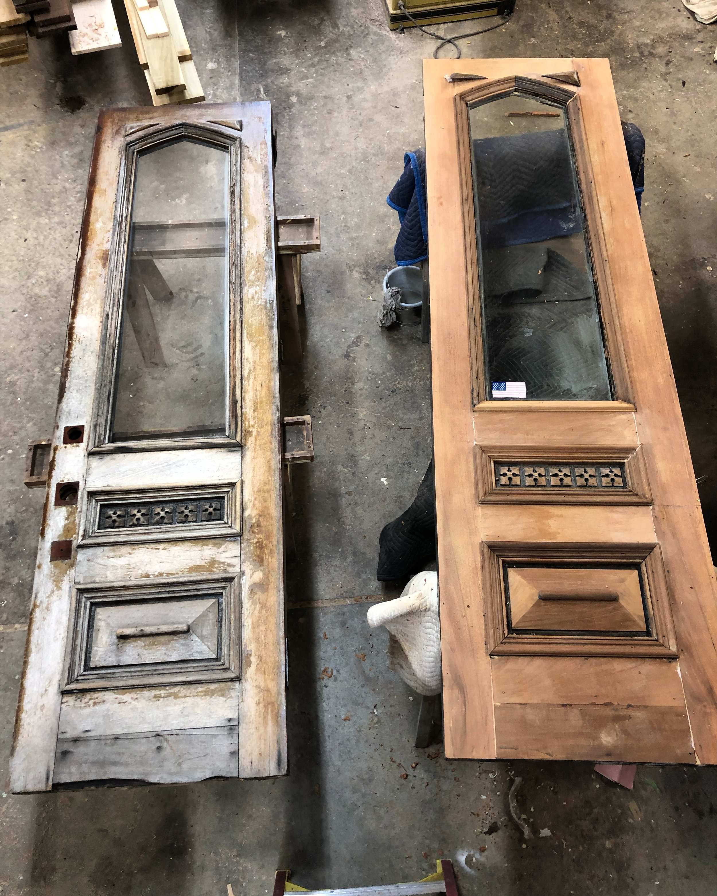 Before and during restoration of two exterior Boston doors.