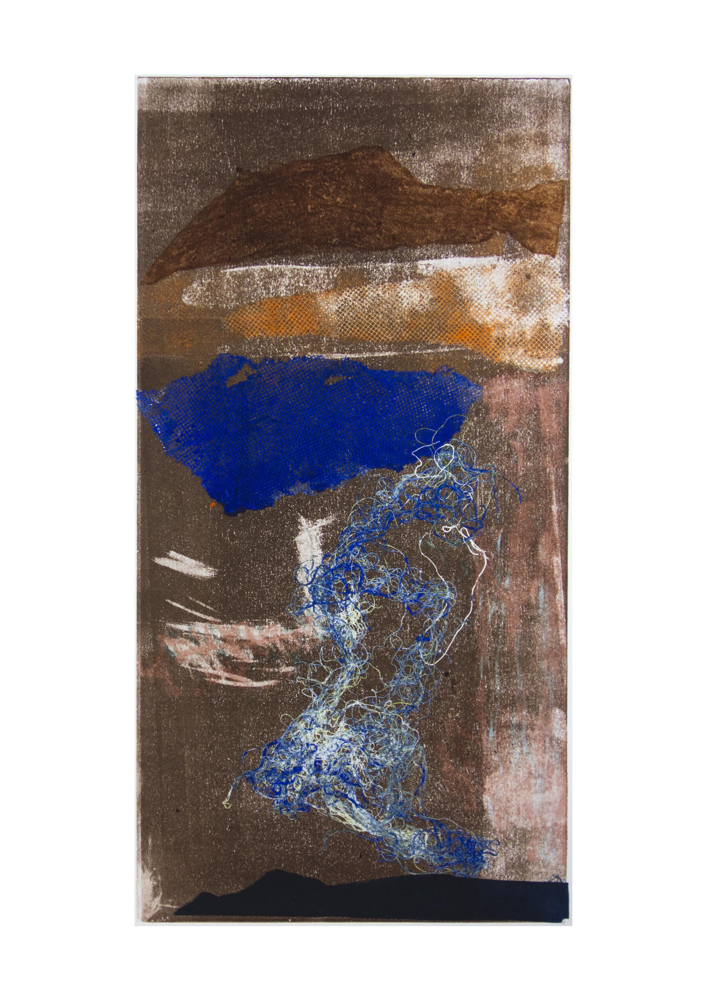 """Dusk, collagraph, image: 19"""" x 9-3/4"""""""