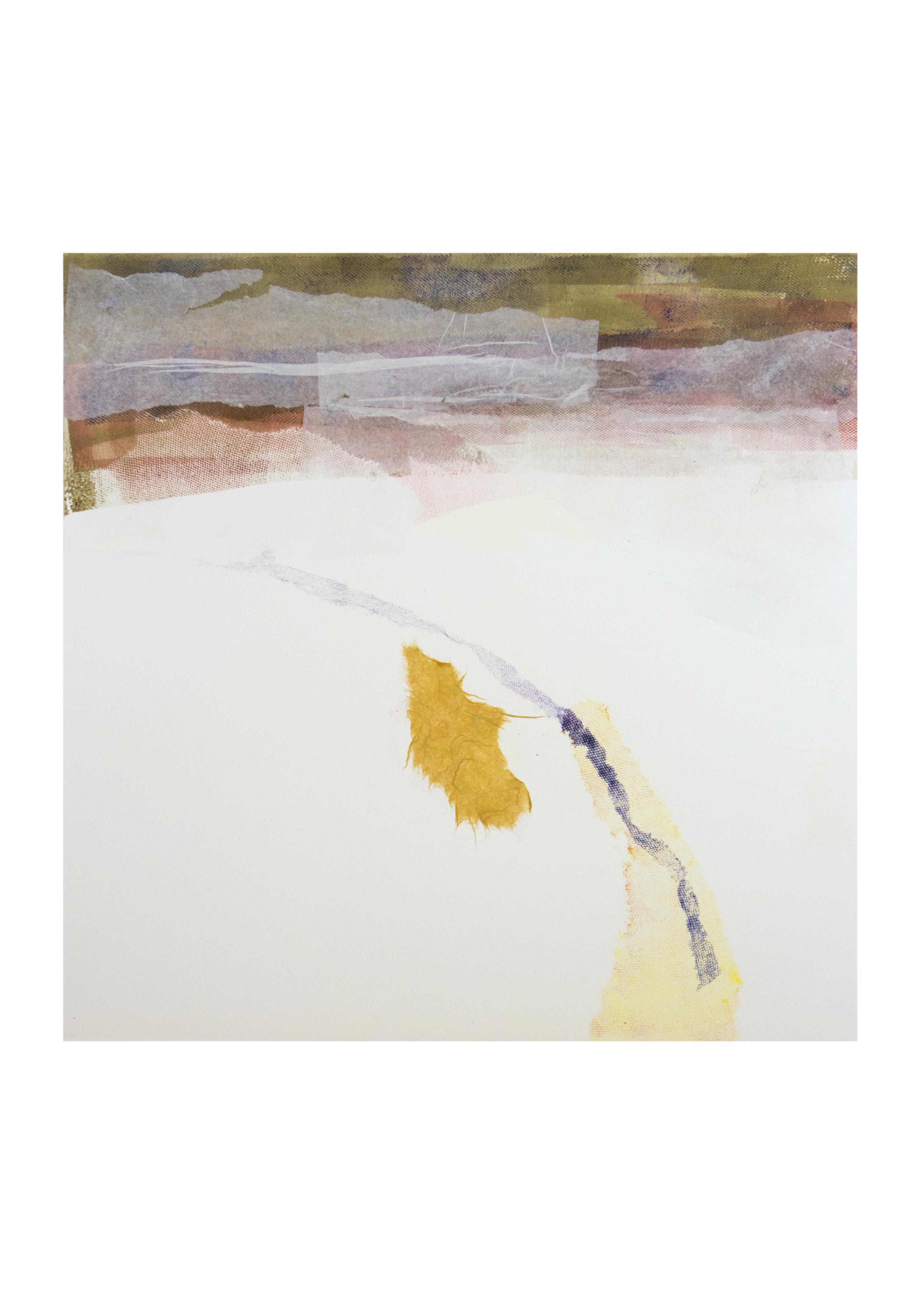 """Beach Trail 2, monoprint, image: 15"""" x 15"""""""