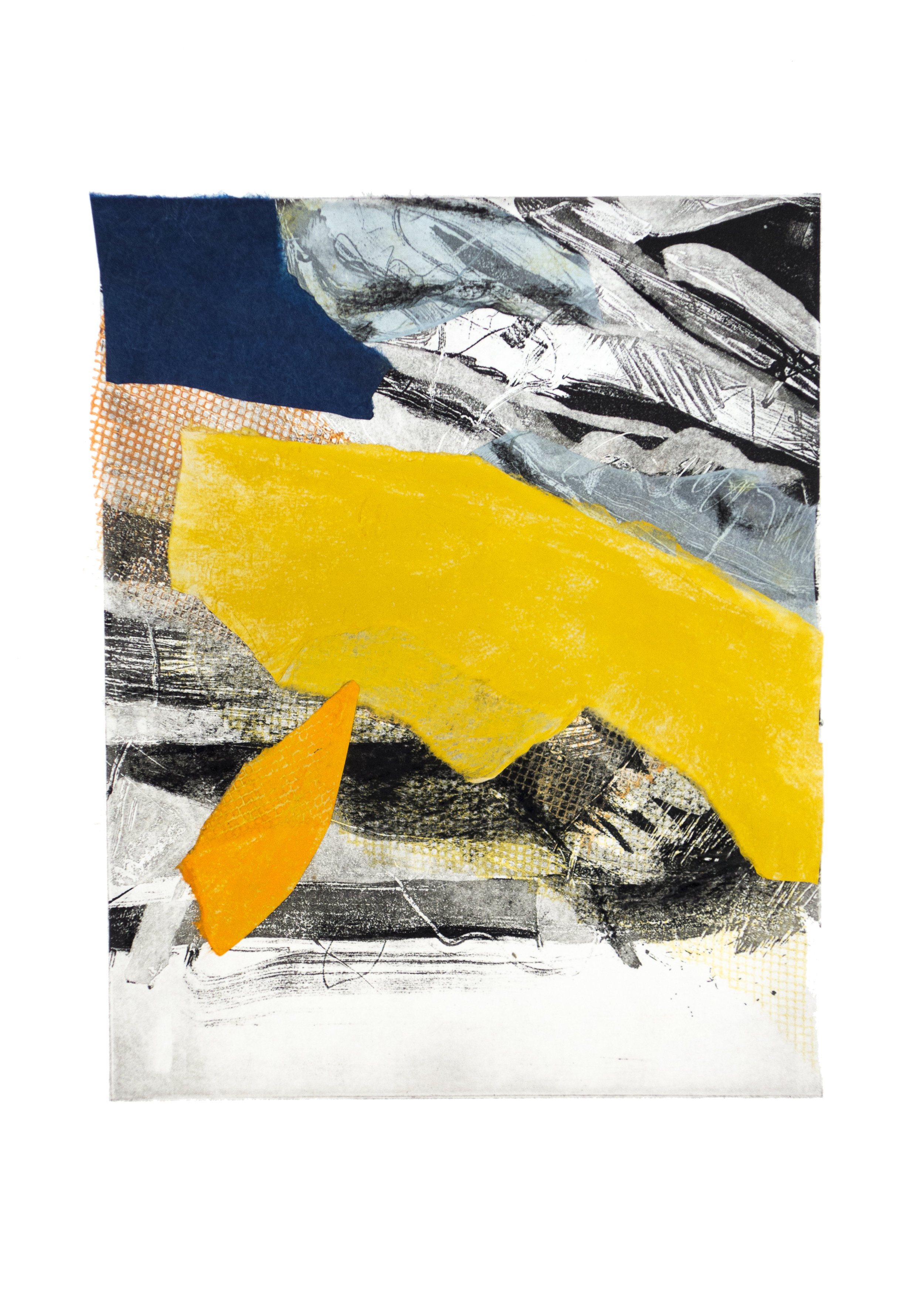 """Landscape 2, copper plate etching and collage, image: 9"""" x 7"""""""