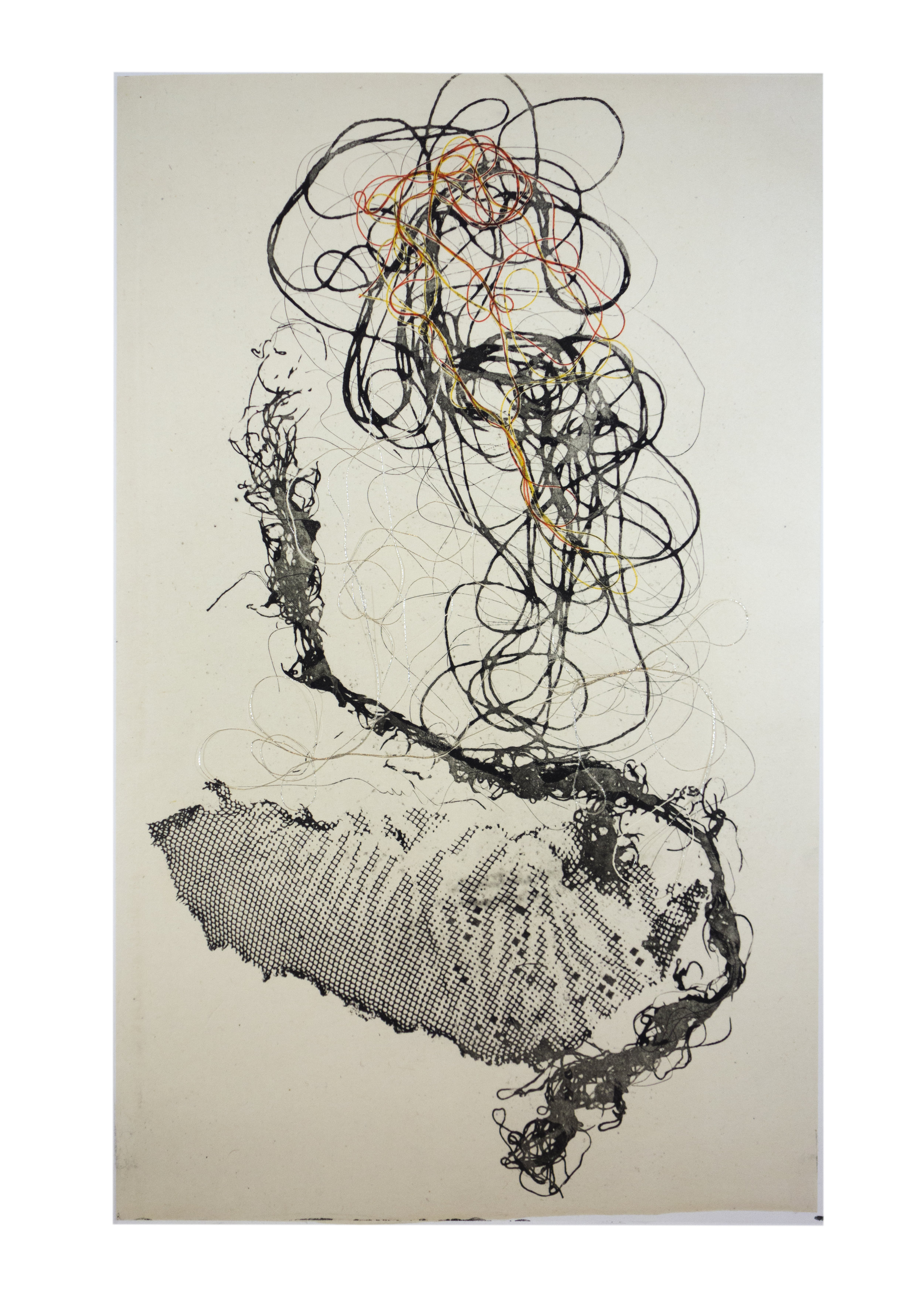 """Sea Creature 1, copper plate etching, image: 16"""" x 10"""""""