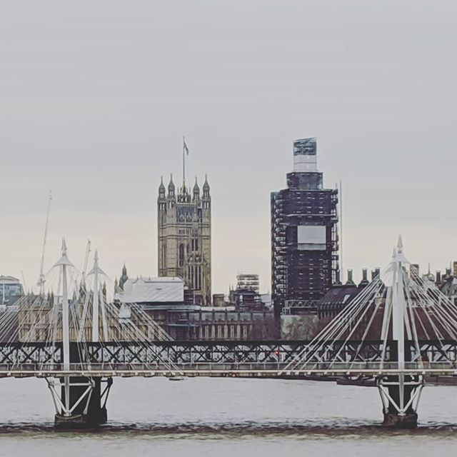 Parliament propped up with scaffolding. A metaphor for the UK's dysfunctional, crumbling government and opposition leadership.