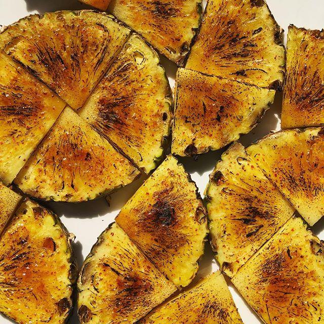 Paniolo garnish. Caramelized pineapple dusted with Tajin. #craftcocktail #bartender #cocktailgarnish
