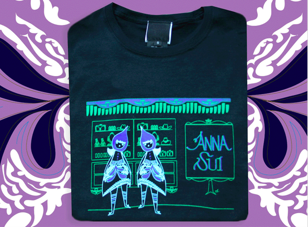 Anna Sui 2013 Collab - In 2013, I was one of the illustrators featured in Anna's Spring 2013 line of graphic t-shirts.