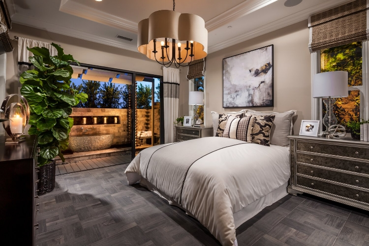 The zen den. Comfortable luxury with the ultimate sleep aid, a fountain, just steps away from the bed. The Ridge, by  Toll Brothers , Carlsbad, California.
