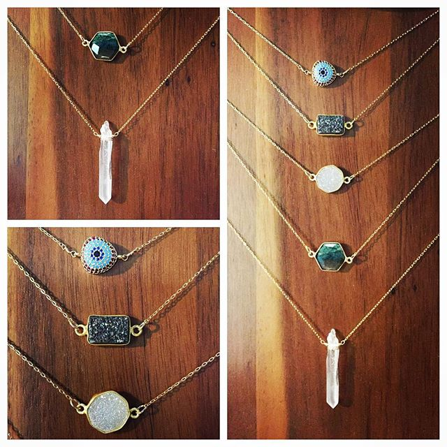 Brand new necklaces in stock at @oats_organic_airbrush_tanning ... Channel your inner Stevie Nicks with a #crystal or #druzy necklace and treat yo' self!!! #jewelry #crystalhealing #crystaljewelry #goldjewelry #handmadejewelry #boho #bohostyle #805 #centralcoastcalifornia #amour_jewelry_accessories
