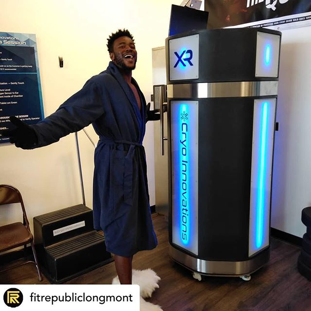 • @fitrepubliclongmont We're over here with @michaeljones034 freezing our pain away with @cryoinnovations Cryo-Therapy. WHOS NEXT TO TRY??? #cryotherapy #cryoinnovations #cryotherapychamber #wholebodycryotherapy #cryo #recovery