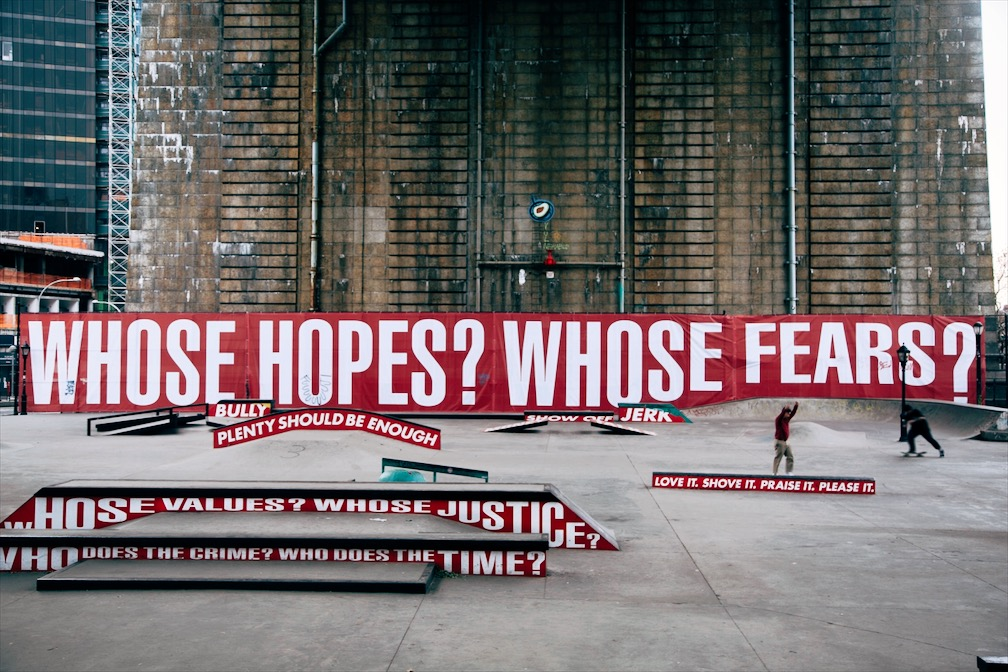 Barbara Kruger's Untitled (Skate) at the Coleman/LES Skate Park under the Manhattan Bridge