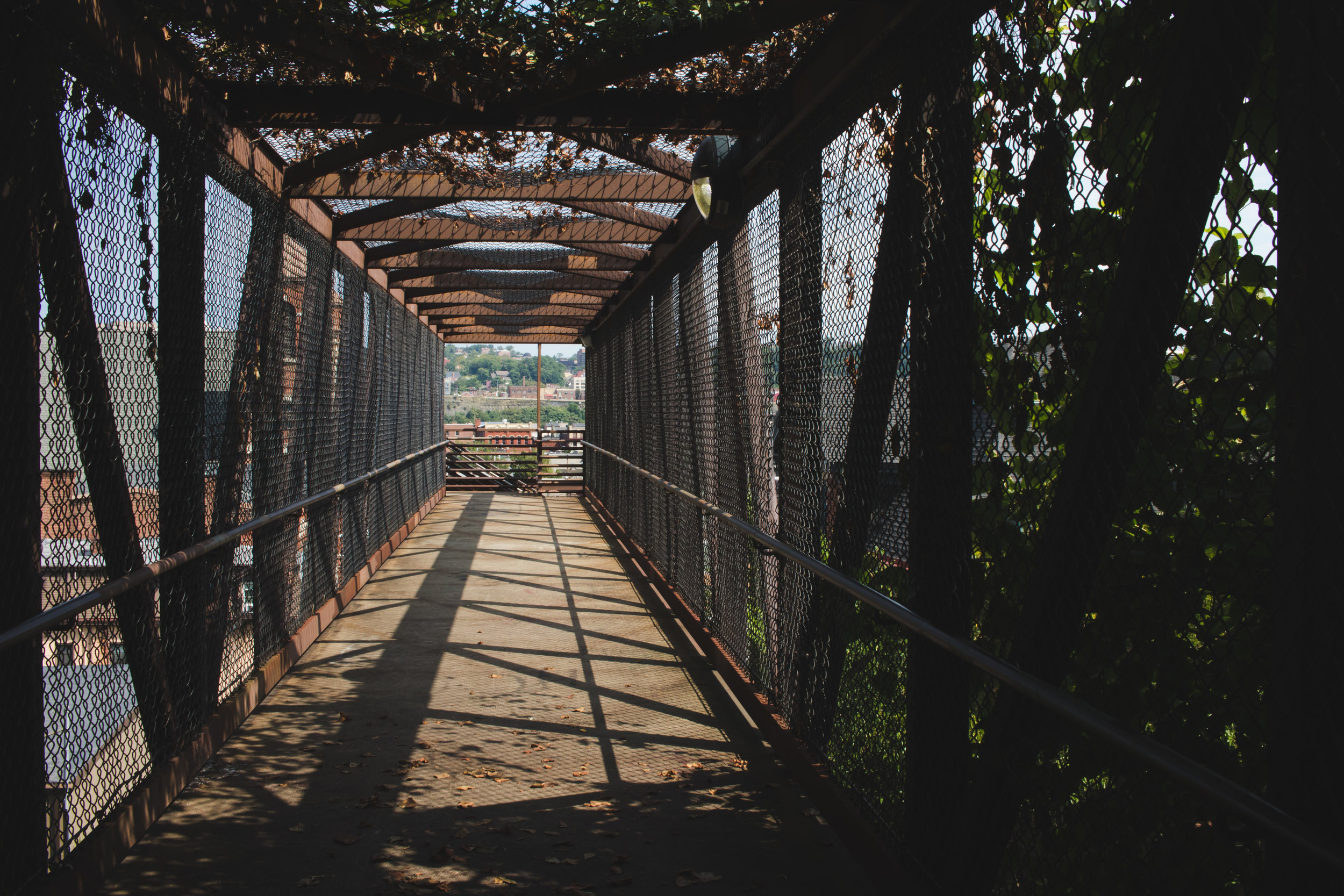 Walkway above train on South Side Slopes