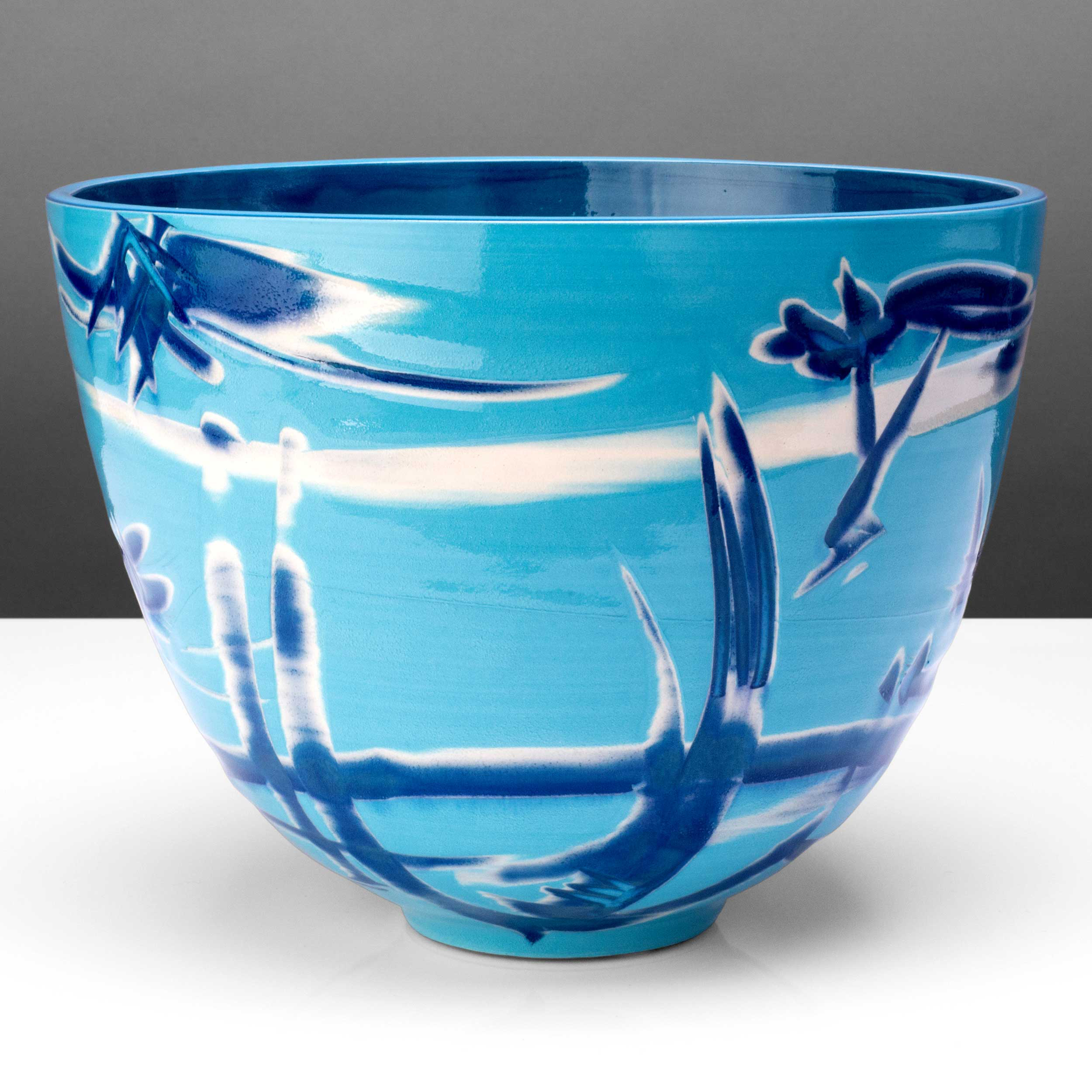 Turquoise Blue Large Ceramic Bowl by Rowena Gilbert
