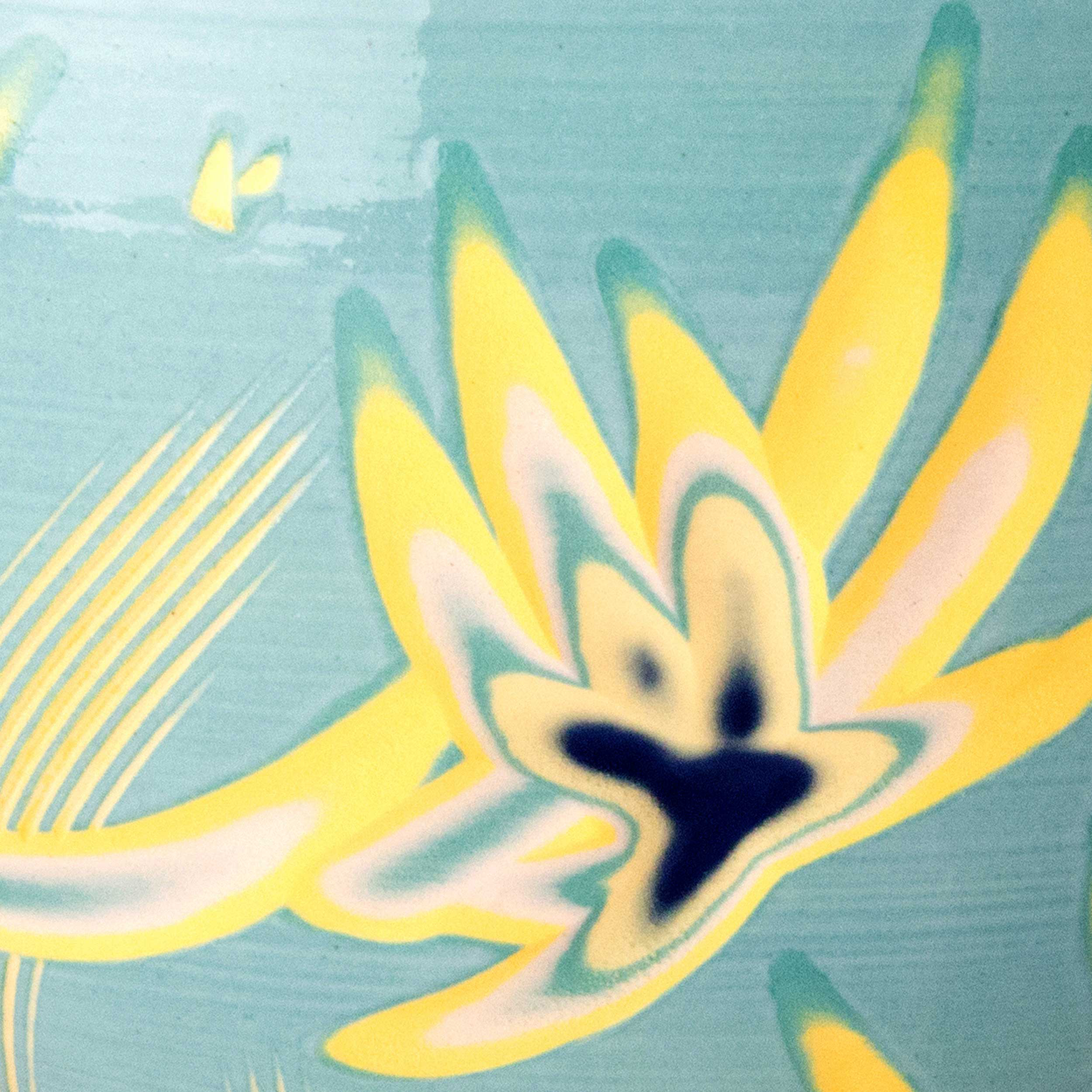 Turquoise Yellow Ceramic Clay Slip Decoration by Rowena Gilbert
