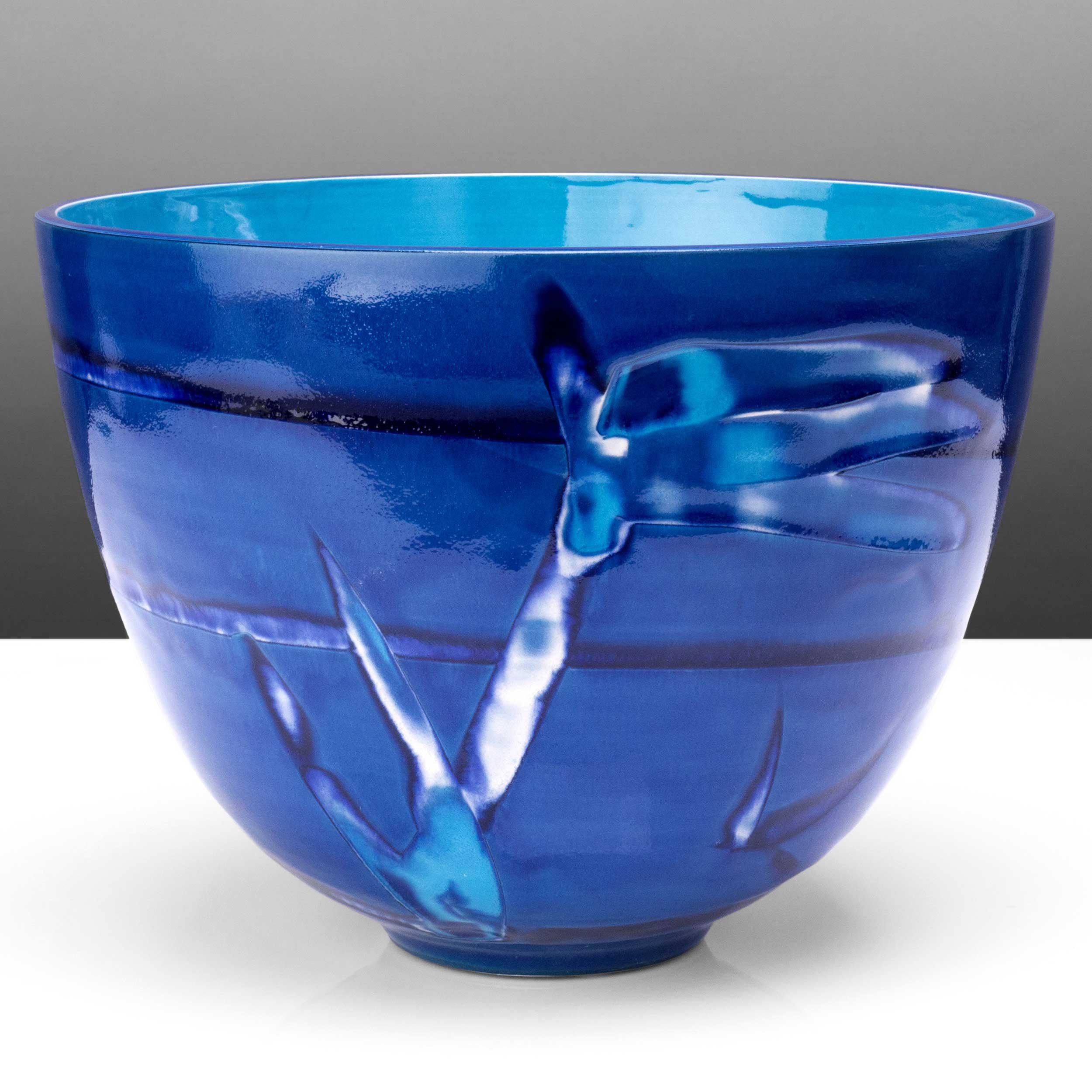Tropical Water Blue Deep Ceramic Bowl by Rowena Gilbert