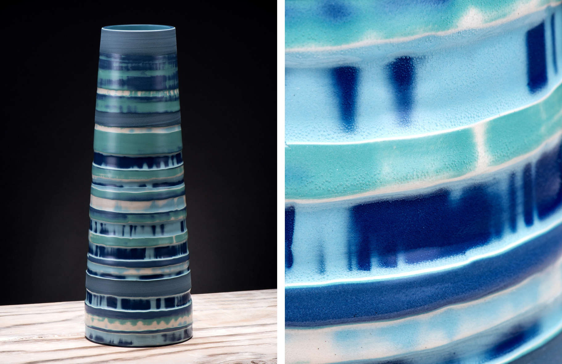 """This Aquamarine, Turquoise Blue Coast Series #2 Large Ceramic Stem Vase together with a further selection of Coast Series Ceramics are on show at The Garden Gallery in Hampshire for their Summer Exhibition 2017 """"Making a Mark""""    www.gardengallery.uk.com"""