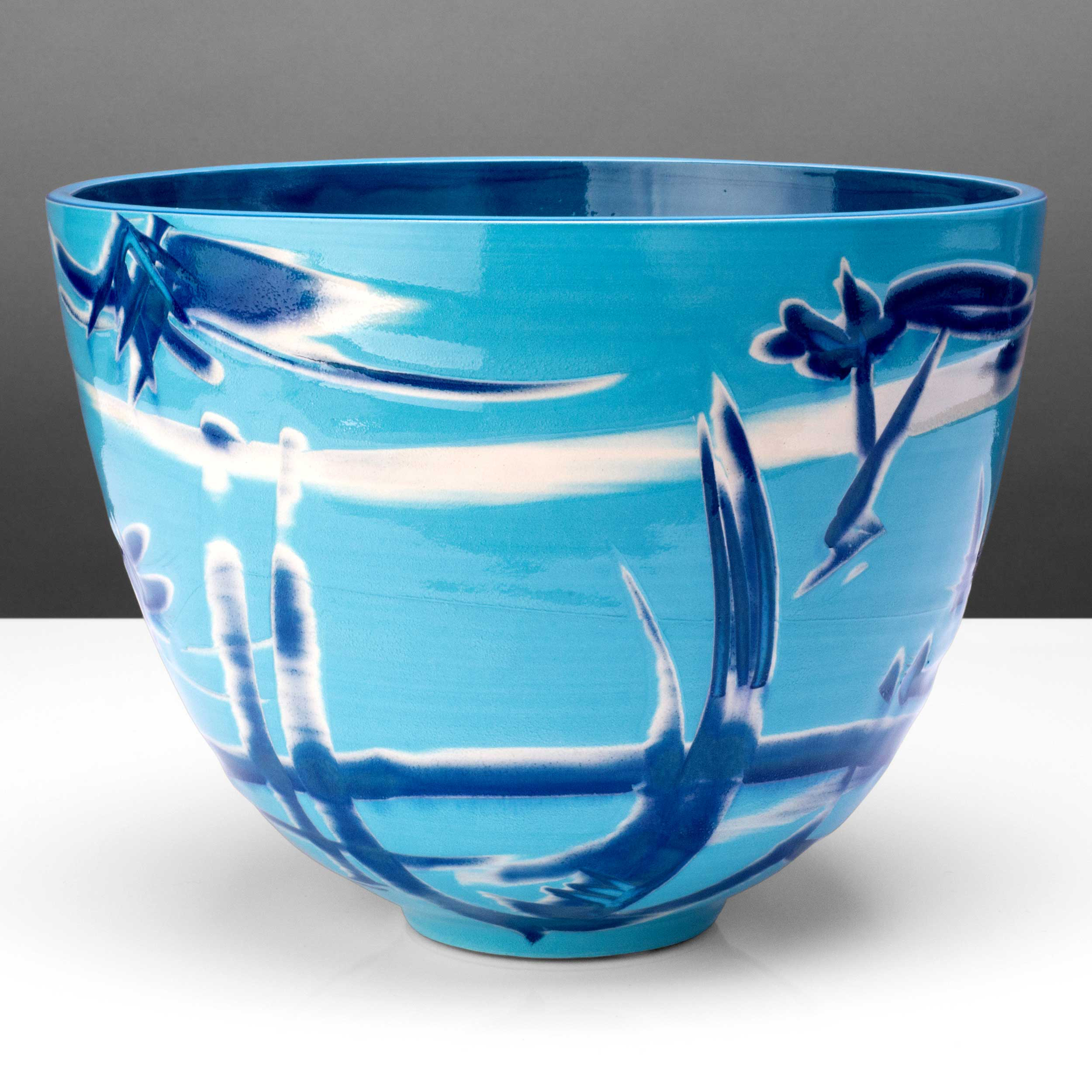 Blue Turquoise Deep Ceramic Bowl by Rowena Gilbert