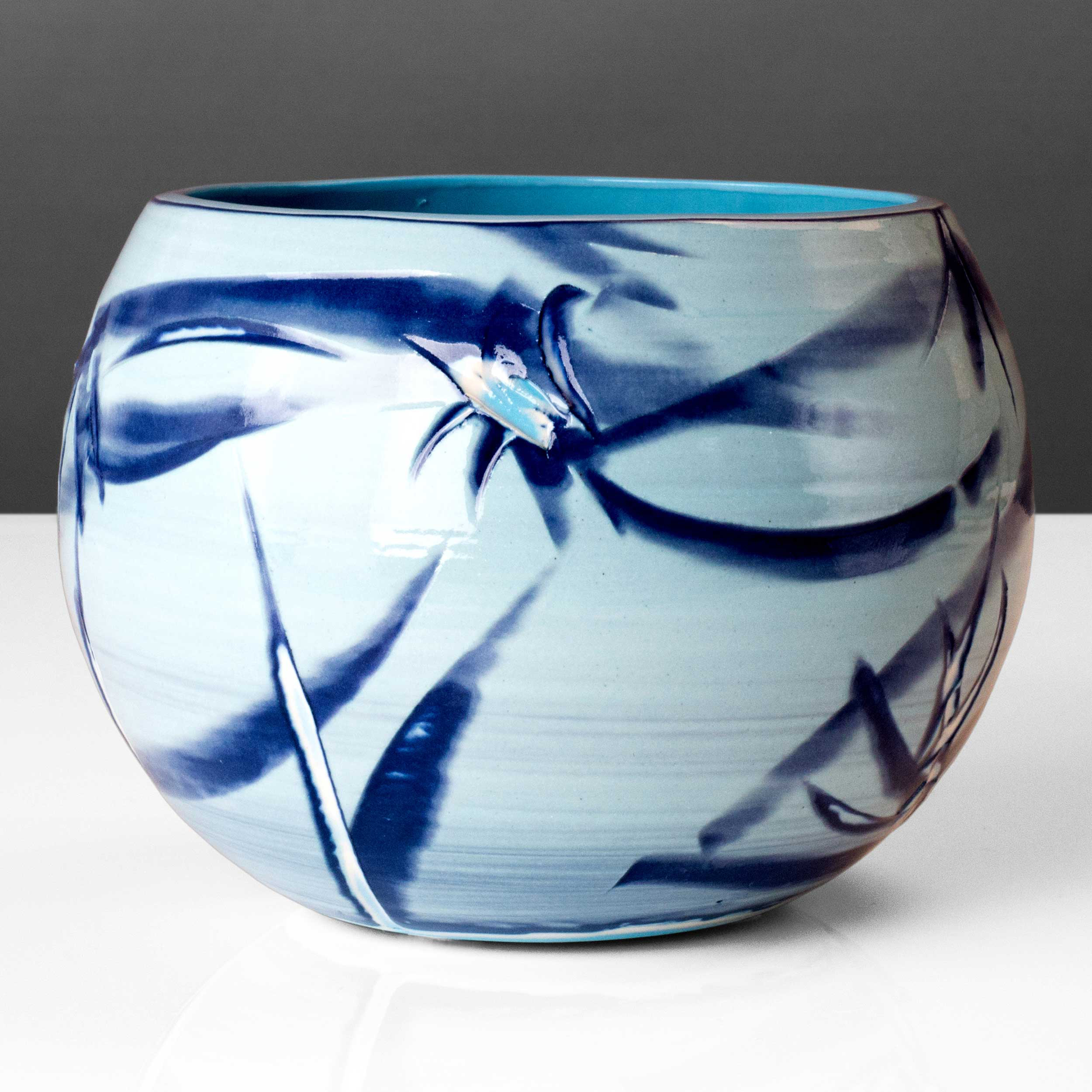 Blue Reef Series Spherical Bowl Vase by Rowena Gilbert